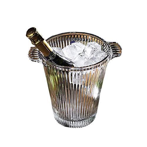 GaoF Elegante Secchiello per Il Ghiaccio in Cristallo, Secchiello per Il Ghiaccio in Vetro con Manico, Secchiello per Birra e Champagne, Secchiello per cubetti di Ghiaccio