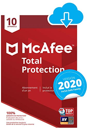 McAfee 2021 Total Protection | 10 Appareils | 1 An | PC/Mac/Android/Smartphones | Téléchargement