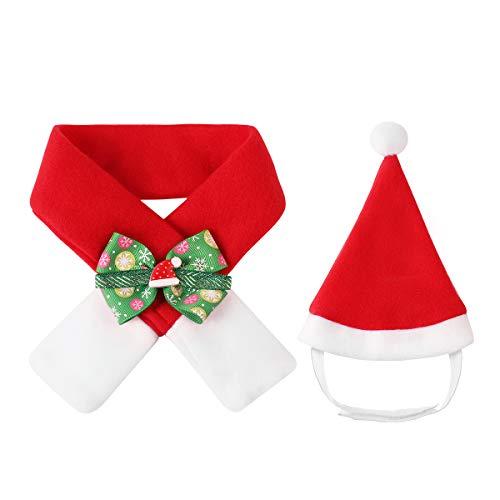 Balacoo Hund weihnachtsmütze und schal - weihnachtsmütze für Hund weihnachtsmützen für Katzen weihnachtskostüm für welpen kätzchen kleine Katzen Hunde - größe l