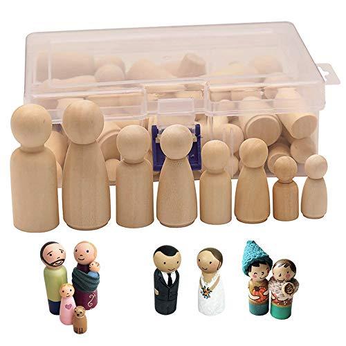 Gurxi DIY Holzfiguren Hochzeit Geburtstag Dekoration Figuren Holzfiguren DIY Holzfiguren Hochzeit Geburtstag Dekoration Bemalen Basteln Holz Mann Frau Junge Mädchen Kinder 50 Stück