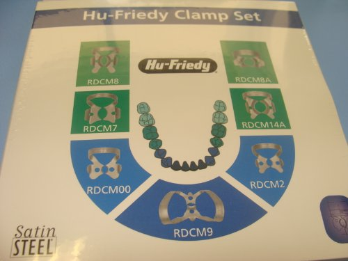 Dental Rubber Dam Clamp Set /7 Clamps 00 2 7 8 9 8A 14A RDCSET7 Hu Friedy