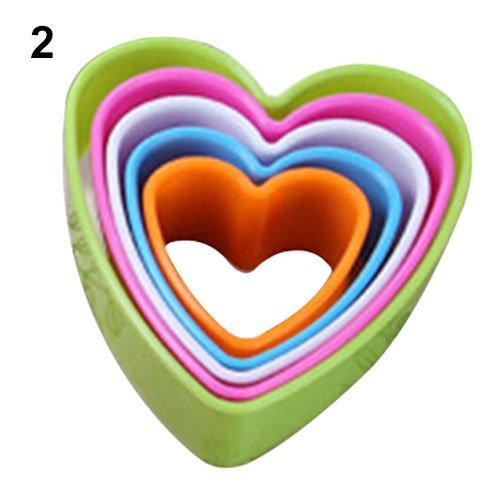 tianxiangjjeu 5 Stks Plastic Cake Mould verschillende vormen Biscuit Cutter Decoratie Mold Keuken Gereedschap 11 Cup Hearts