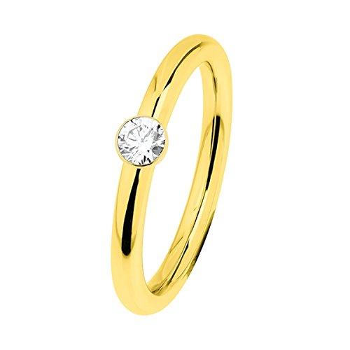 Ernstes Design Evia Ring, Vorsteckring, Beisteckring, Edelstahl beschichtet in Farbe Gold ca. 2 mm mit Zirkonia R466.WH (54 (17.2))
