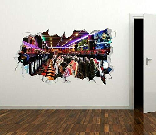 Efecto 3D ver pegatinas de pared adolescentes y niños decoración de paredes vinilo mural-máquina juego de arcade
