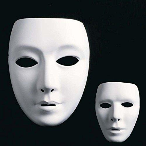 Amakando Weiße Frauenmaske Phantom Maske Ballmaske Neutrale Frauengesicht Maske Faschingsmaske Karnevalsmaske Opernmaske
