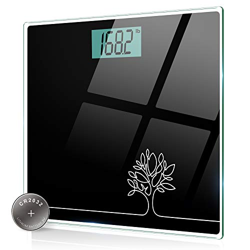 SUNDUO Báscula de baño digital para peso corporal con unidades de lb / kg / st (tecnología Step-On), alta precisión 0.2lb / 0.1 kg, vidrio templado resistente de 6 mm, 149.7 kg, elegante color negro