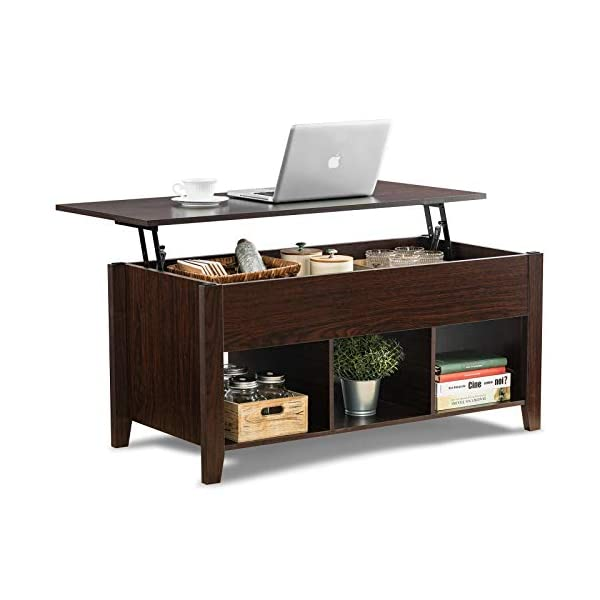 ChooChoo Lift Top Coffee Table w/Hidden Storage Compartment and 3 Lower Open Shelves,...
