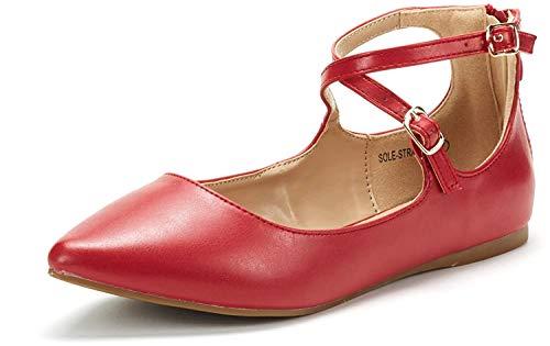 DREAM PAIRS Sole-Strappy Damen Ballerinas Rot pu 43 EU/12 US