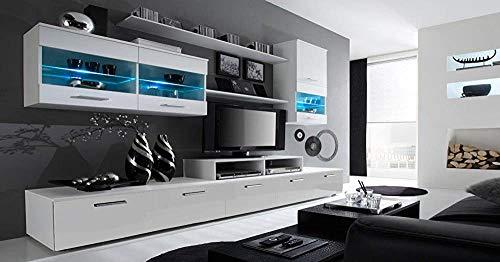 Moda moderna Elegante con pared LED incluye 2 módulos de baja tecnología, 2 armarios modulares suspendidos, 2 estantes y 1 gabinete de televisión,White