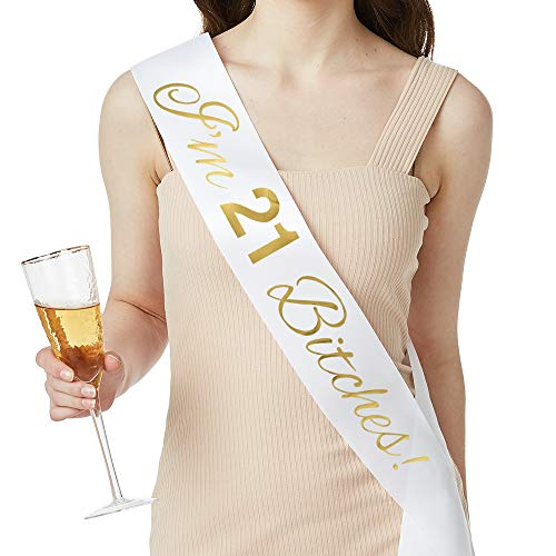 ADBettyIm 21 Bitches! Satin Sash - 21st Birthday Party Gifts for Her Finally Legal Sash Drinking Age Birthday Party Favors, Supplies and Decorations