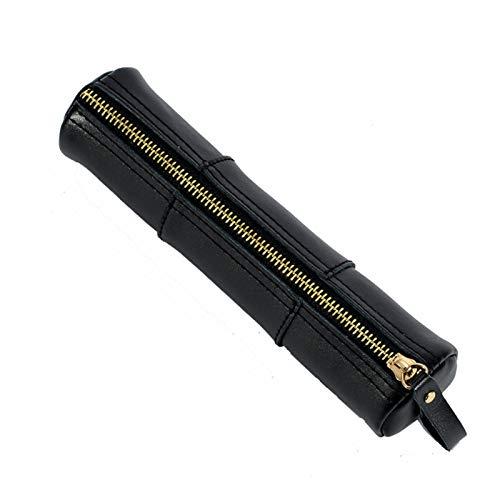 MOMIN Bolsa de papelería Multifuncional Funda de Cuero para lápices y Pinceles Bolsa de Cremallera para lápices para la Escuela, Oficina para bolígrafos (Color : Black, Size : 20.5x5.2cm)