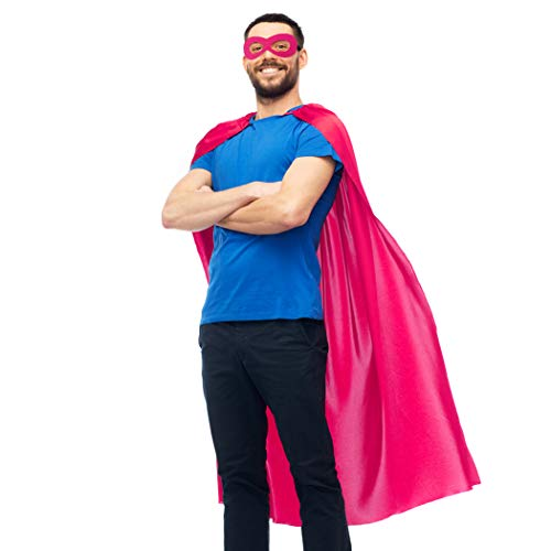 D.Q.Z Adults Superhero-Cape and Mask Set for Men Women,Super Hero Dress-Up Costume for Pretend Play Party Favors (Rose)