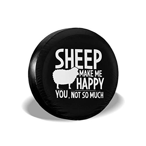 WCHAO Sheep Make Me Happy You Not Tanta Cubierta Tipo Rueda de Repuesto Rueda Universal
