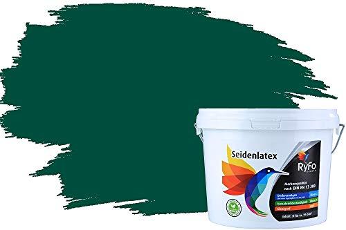 RyFo Colors Seidenlatex Trend Grüntöne Waldgrün 3l - bunte Innenfarbe, weitere Grün Farbtöne und Größen erhältlich, Deckkraft Klasse 1