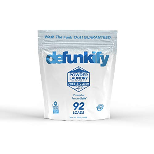 Defunkify Powder Laundry Detergent, Free & Clear - EPA Safer Choice Certified - For Activewear & All Laundry - 92 Loads (55 oz)