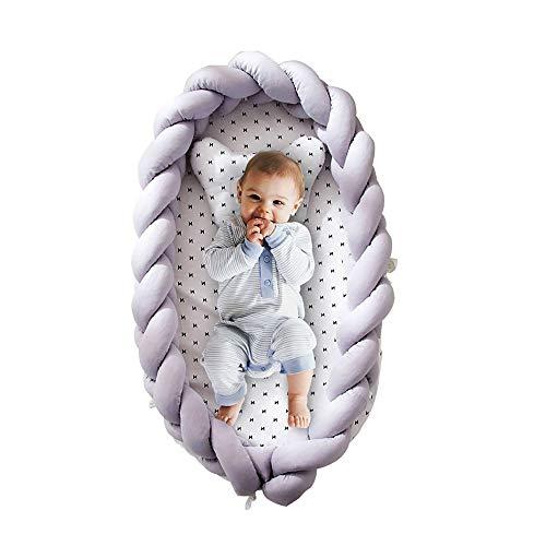 DJR - Reductor de cuna para bebé recién nacido, cojín para bebé, moisés de viaje, portátil, color gris