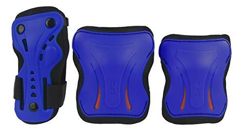SFR Essentials Triple Pad Set de Bracelet, Coudière et genouillère Unisexe Adulte, Essentials Triple Pad Set, Bleu, 39.5