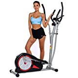 ncient Elliptical Machine Eliptical Exercise Machine for Home Use Elliptical Trainer Indoor Workout Fitness Machine Magnetic Smooth Quiet Driven Pulse Rate Grips (Red)