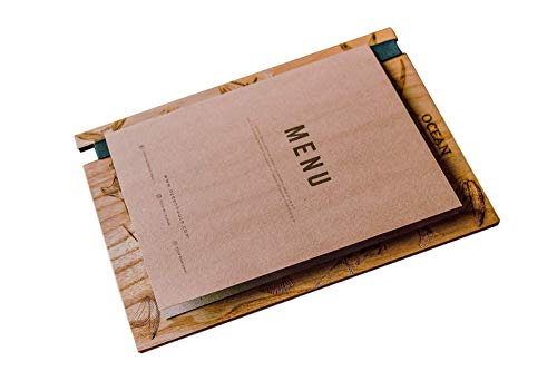 Wooden Menu Holder Board with Rubber - Menu Covers, Menu Board for Restaurant, Wood Clipboard, Menu Holder Clipboard, Cafe Menu, Sign Holder Wood, Wedding Menu Cards, Wooden Sign Holder, Menu Booklet
