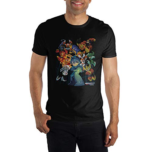 Capcom MegaMan Characters Graphic Print Men's Black T-shirt Medium