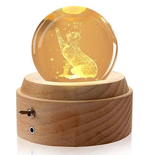 Aoweika Spieluhr, 3D Kristallkugel Spieluhr Mit Warmem Licht Projektionsfunktion, Rotierende K9 Kristallkugel mit Hochwertiger Buchenholzsockel für Geburtstagsgeschenk, Vatertagsgeschenk