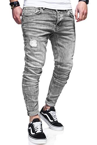 behype. Herren Destroyed Jeans-Hose 80-0100 (29/32, Grau)