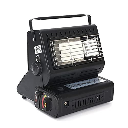 Yinleader Calefactor de gas de cerámica, calefactor para exteriores, camping, 2 en 1, quemador de cerámica, 1,3 kW, color negro