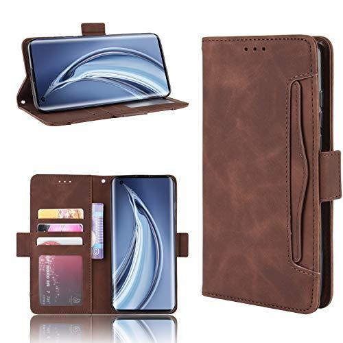 LODROC Xiaomi Mi 10 Hülle, TPU Lederhülle Magnetische Schutzhülle [Kartenfach] [Standfunktion], Stoßfeste Tasche Kompatibel für Xiaomi Mi10 / Mi 10 Pro 5G - LOBYU0200928 Braun