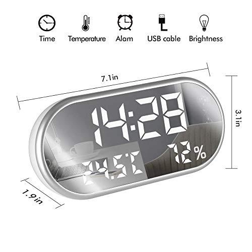 ANCLOK Digitale wekker, draagbaar HD-display met LED-display met tijd/vochtigheid/temperatuur/weergave met USB-aansluiting voor opladen 1 x Polsband