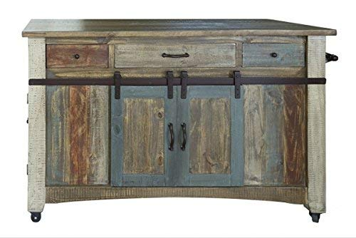 Crafters and Weavers Bayshore Solid Wood Kitchen Island, Distressed