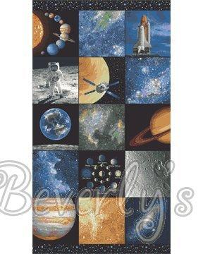 Weltall Planeten, Baumwolle, Fabric Panel, 60.96 cm x 111.76 cm