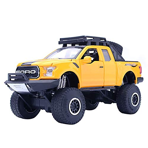 Fdrone Kids Raptor Pickup Diecast with Music Flashing Car Toy Gifts Compatible with 1:32 Ford F150 (Yellow)