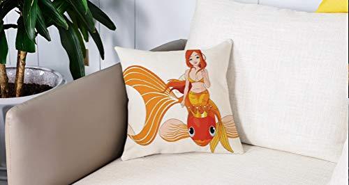 Mingdao Square Soft and Cozy Pillow Covers,Mermaid Decor, Pretty Princess Mermaid Montando en un pez Dorado Nadando Animales Felices,Funda para Decorar Sofá Dormitorio Decoración Funda de Almohada.