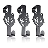 FAMALL Aesthetic Over Door Hooks 3 Pack, Reversible Sturdy Black Metal Hanging Hooks for Bathroom, Living Room, Kitchen Hanging Towels, Clothes, Shoes Bag, Hats (Wolf)