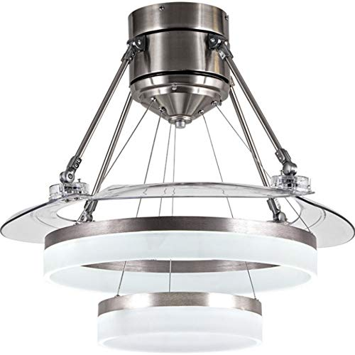 Lighting Groups Retractable Ceiling Fan Light-42 Inch Modern Invisible Ceiling Fan Led Light And Remote Control 3 Light for Living Room Bedroom Dinningroom Fan Ceiling Chandeliers (Chrome)