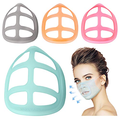 Silicone 3D Mask Bracket - Face Mask Inner Support Frame- Masks Insert Protection Stand- for under Mask Easier to Breathe & Talk- Protect Lipstick- Cool Face Guard Washable Reusable(Large 4Pack)