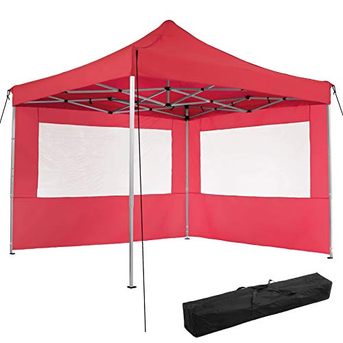 TecTake 800685 Folding Pop Up Garden Gazebo, 3 x 3 m, Alumium Frame, 100% Waterproof, with 2 Sidewalls, Tent Pegs and Bag (Red | no. 403151)