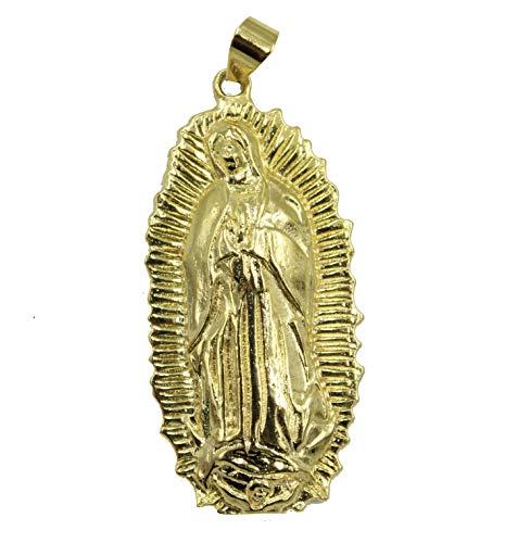 Diamantados of Florida Medalla Virgen De Guadalupe chapado en oro de 18 quilates Medalla Enchapado Colgante con cadena de 55,8 cm
