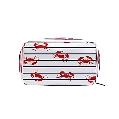 Bolsa de cosméticos para mujeres y niñas Trave bolsa de maquillaje neceser bolsa accesorios organizador cangrejo azul rayas patrón