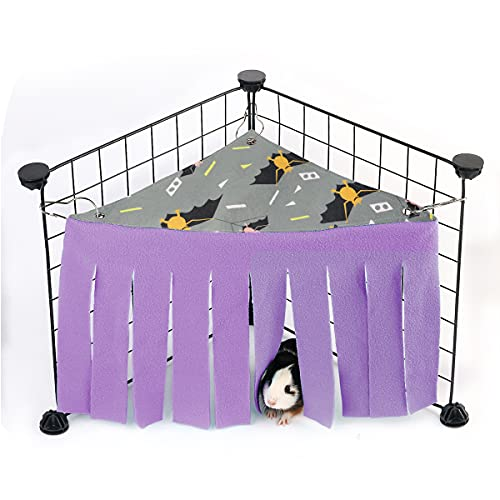 Guinea Pig Hideout, Guinea Pig Accessories, Guinea Pigs Forest Rabbits Hideaway Corner Fleece for Ferrets Chinchillas Rats Gerbils Dwarf Bed Other Small Animals Cage Liner Halloween Christmas BFFX