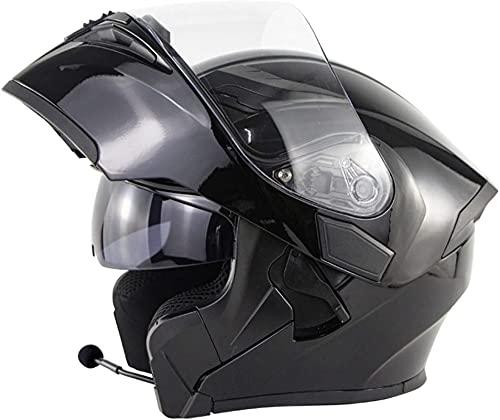 YLFC Bluetooth Integrado Modular Casco de Moto ECE Homologado Doble Visera Casco Integral de Cara con Auricular Bluetooth para Adultos Hombres Mujeres (Color : 8, Size : XL)