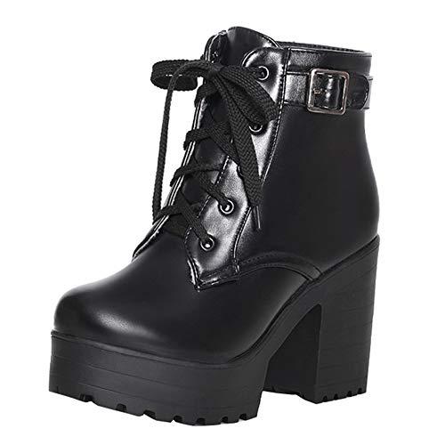 High Heels Ankle Boots mit Blockabsatz Stiefeletten zum Schnüren Kurzschaft Stiefel(Schwarz,42)