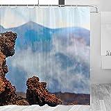 Italia Etna Volcán Sicilia Cortina de ducha Viaje Decoración de baño Set con ganchos Poliéster 72x72 pulgadas (YL-03115)