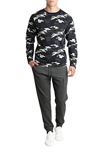 LOUNGEHERO Conjunto de Manga Larga Camiseta y Pantalones para Hombre de Algodón Suave Camuflaje Dos Piezas con Pantalones de Chándal De Forro Polar X-Large Camuflaje