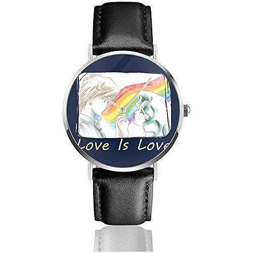 Unisex Sailor Moon Pride Love is Love Relojes Reloj de Cuero de Cuarzo con Correa de Cuero Negro