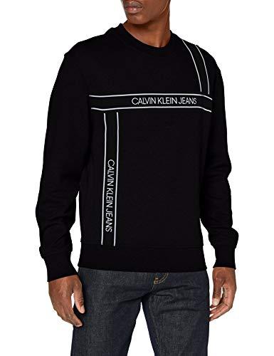 Calvin Klein Logo Tape Fashion Crew Neck Maglione, Nero, XX-Large Uomo