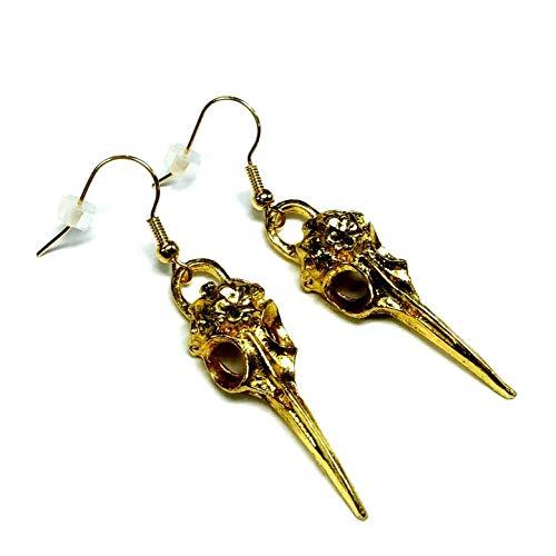 Pendientes de calavera de pájaro en tono dorado, diseño de águila y pájaro, unisex, joyería gótica de cuervo, Emo Punk