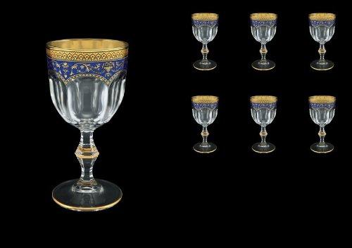 Exclusive Bohemia Cristal copas de vino Flora's Empire 170 ml con decoración oro azul