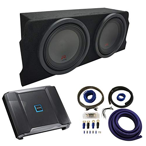 """Compatible with 2004-2008 Mazda RX-8 Coupe Alpine Type R R-W12D2 Dual 12"""" Sub Box Enclosure Package with R-A75M Amplifier & 0GA Amp Kit"""