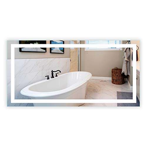 LED Front-Lighted Bathroom Vanity Mirror: 72' Wide x 36' Tall -...